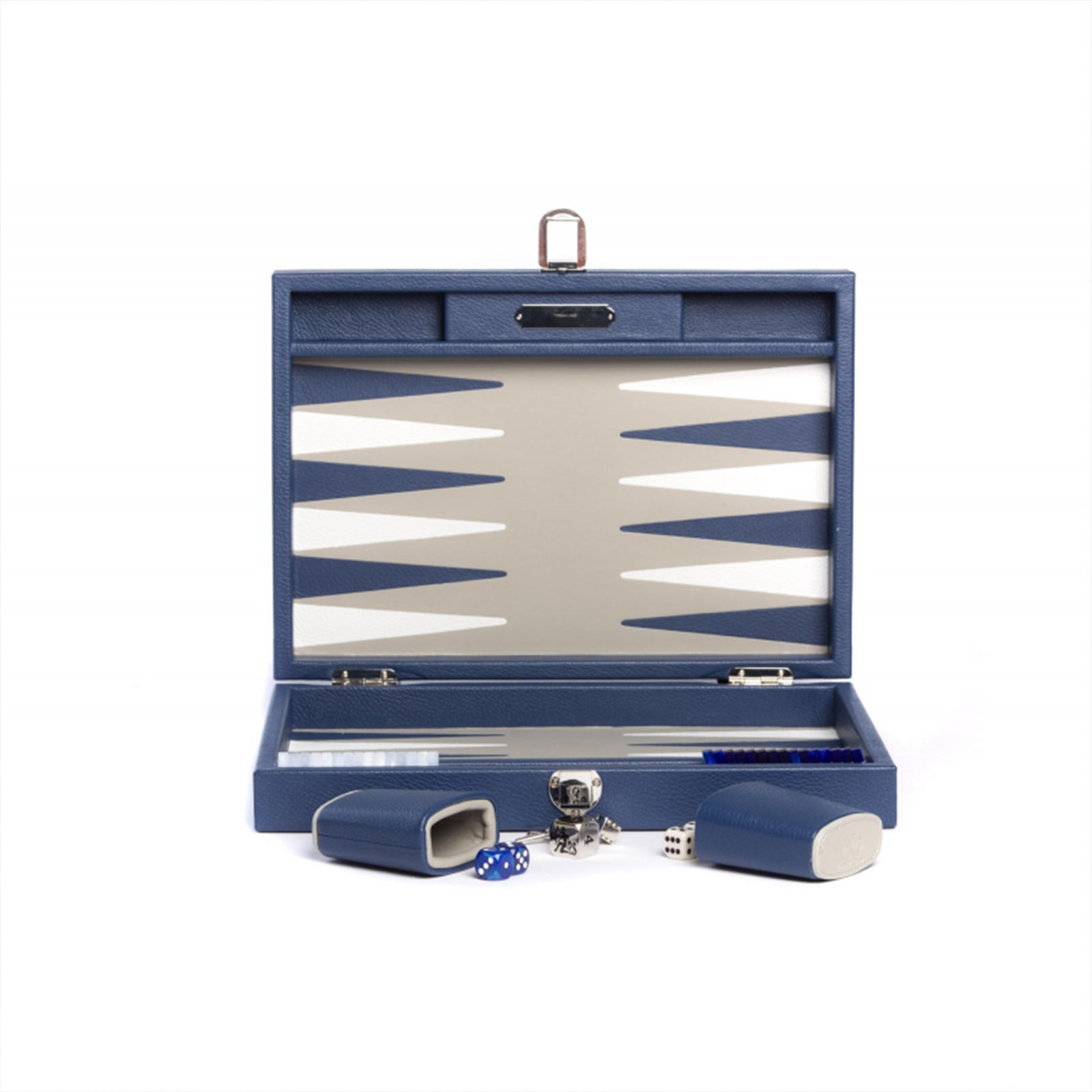 Backgammon Büffelleder Hector Saxe  - Baptiste French Blue medium