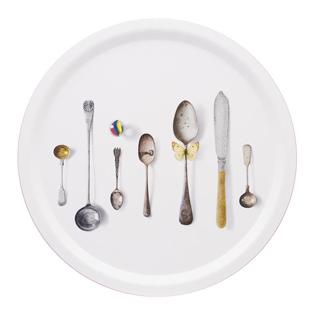 Cutlery/white Tablett Ø 39 cm  aus weißem Birkenholz
