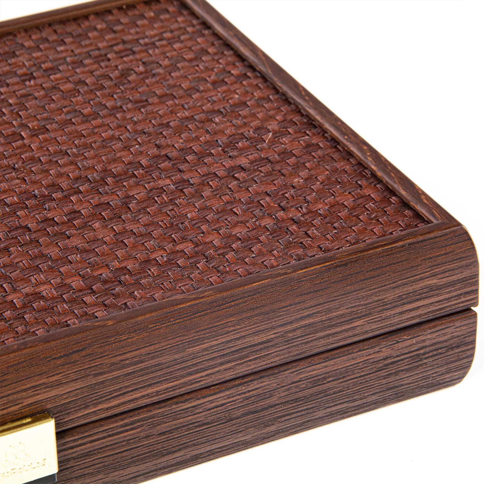 Backgammon Set Oeko-Leder aus Griechenland, handgefertigt 30x20 cm