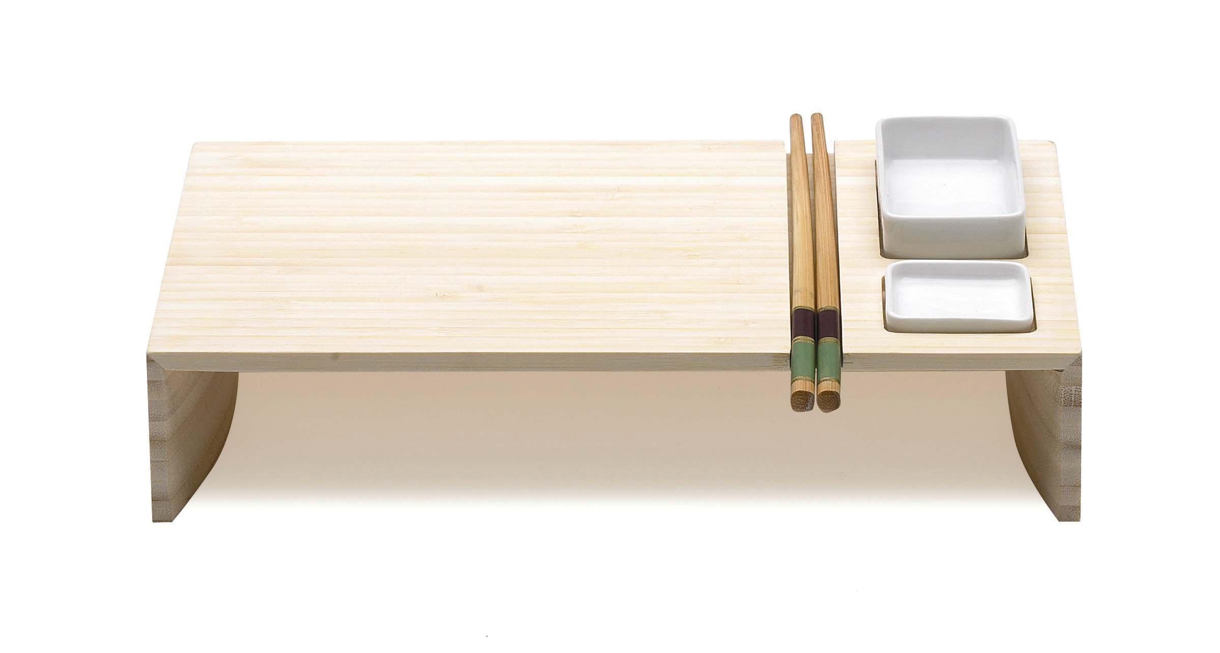 Sushi Set Bambus mit Keramik Schüsseln und Stäbchen