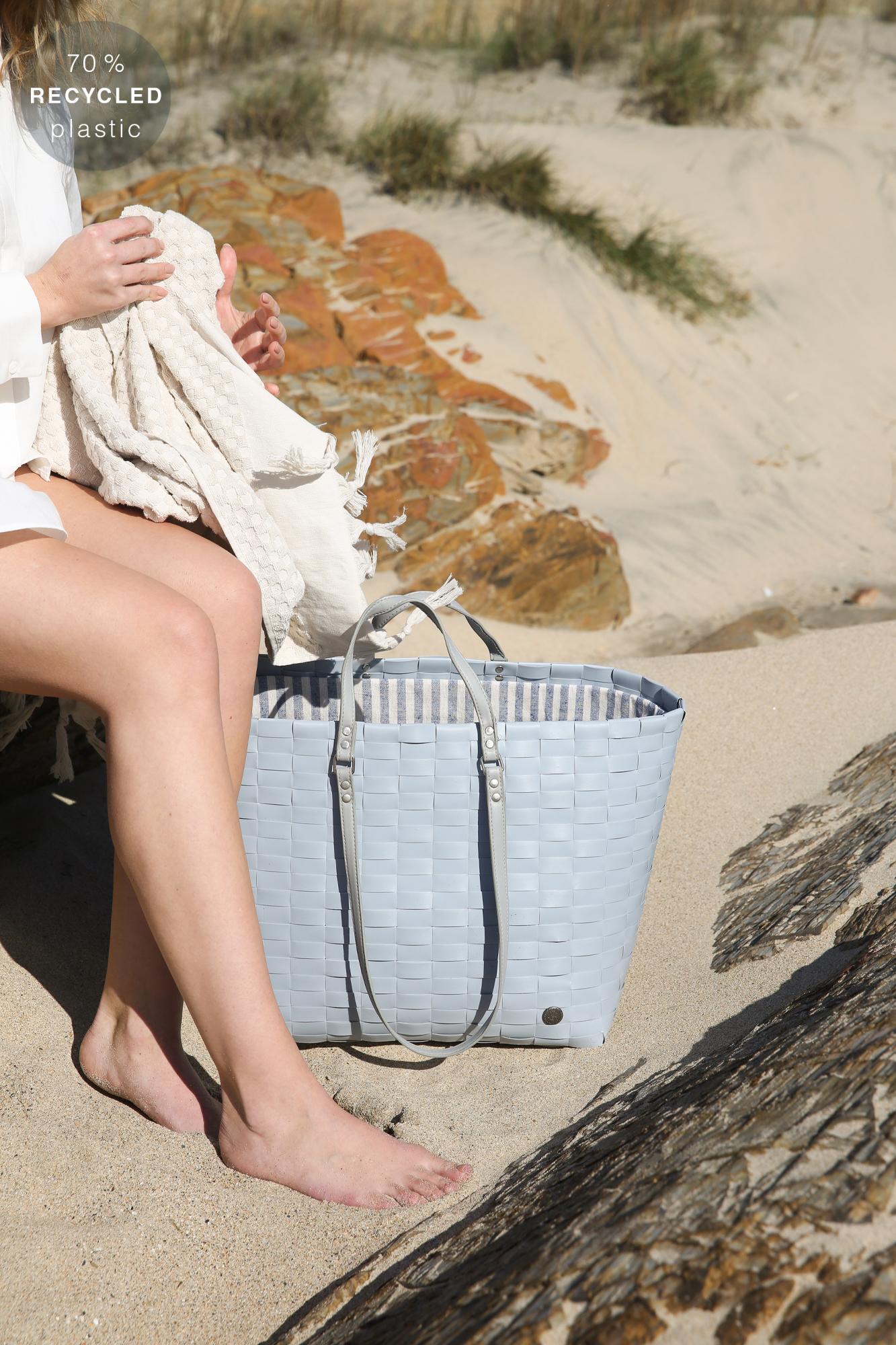 GO! Strandtasche und Shopper aus 70% recyceltem Plastik stahlgrau