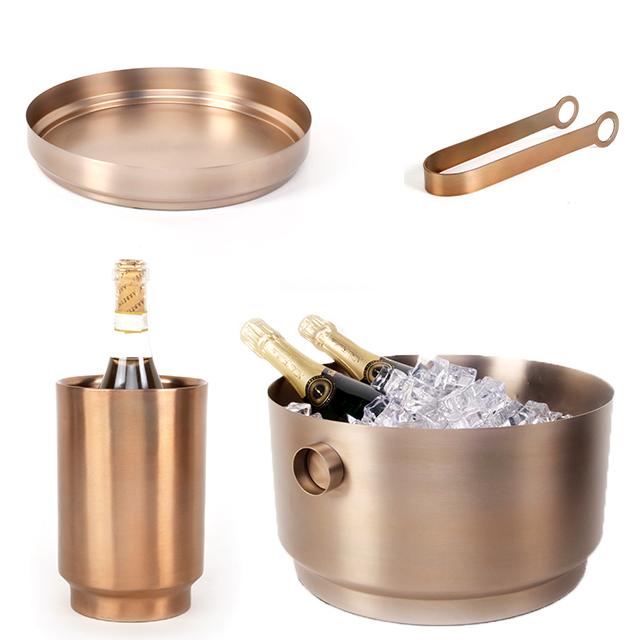 Bar-Set  4teilig Champagnerkühler, Eiszange, Eiswürfelbehälter, Tablatt Rondo Edelstahl soft Kupfer XLBoom