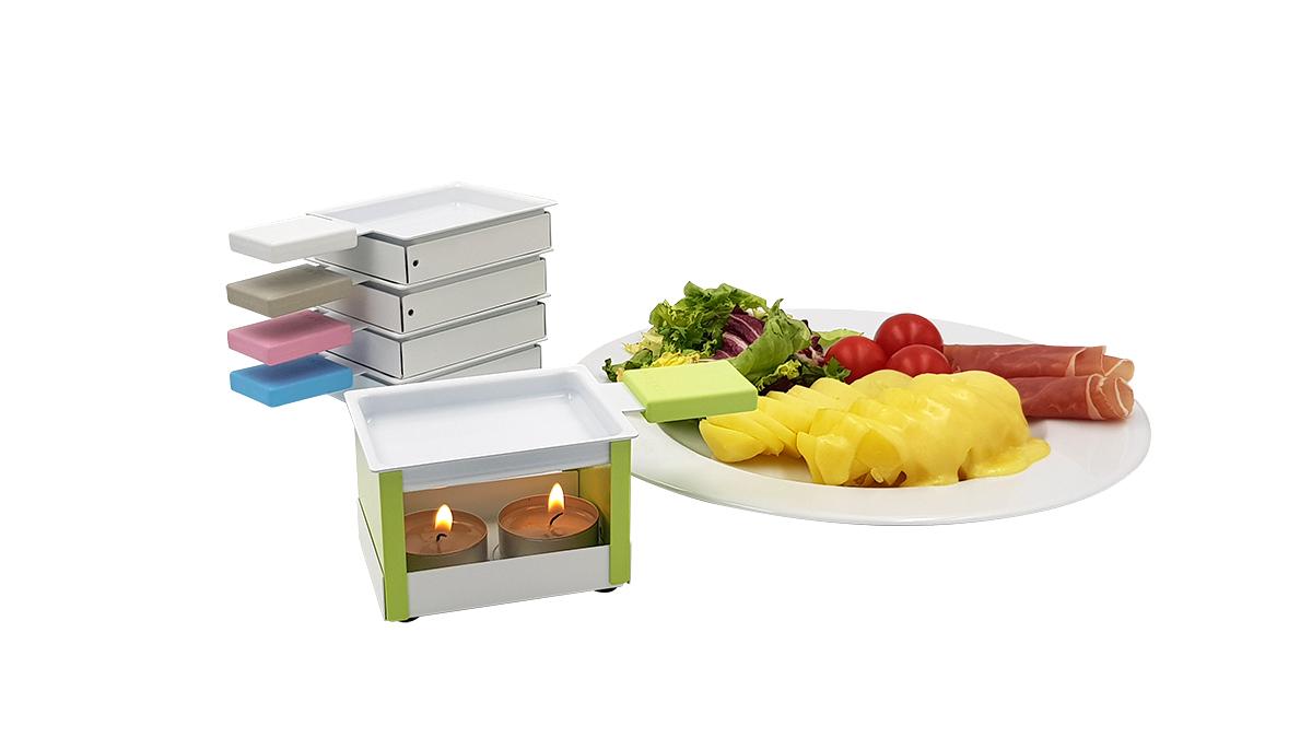 YETI faltbares Raclette-Stövchen, 5er-Set, blau, grau, grün, pink, weiß