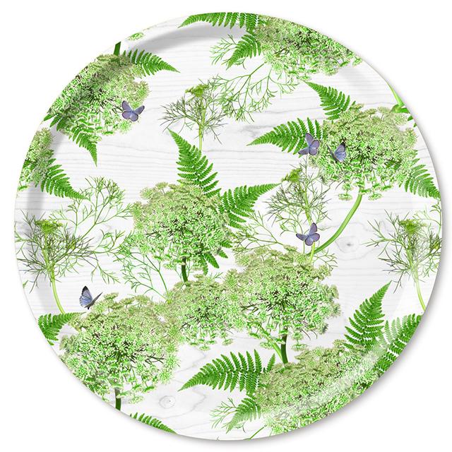 Dill/white Tablett Ø 46 cm  aus weißem Birkenholz