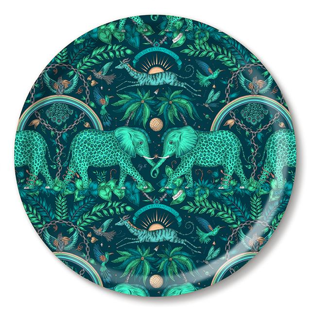 Zambezi/teal Tablett Ø 39 cm  aus weißem Birkenholz