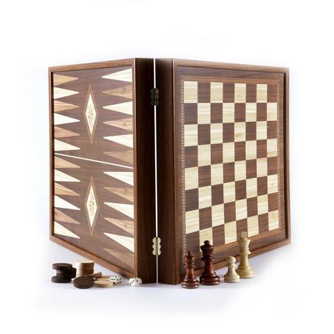 Schach- und Backgammon Set Walnuss aus Griechenland, handgefertigt 41x41 cm