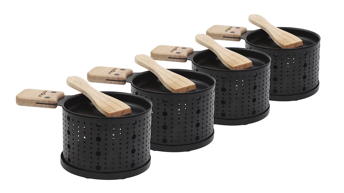 Raclette 4er Set mit Stövchen für Teelicht, Metall, Schwarz, Holzschaufel, 11 cm Durchmesser