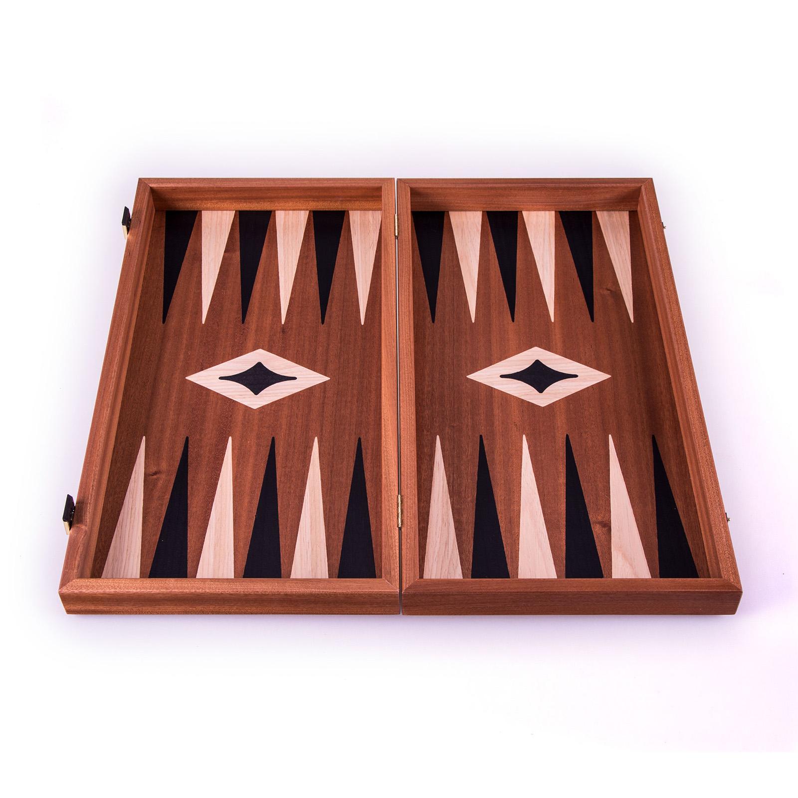 Backgammon-Set aus Mahagoni aus Griechenland, handgefertigt 48x26 cm