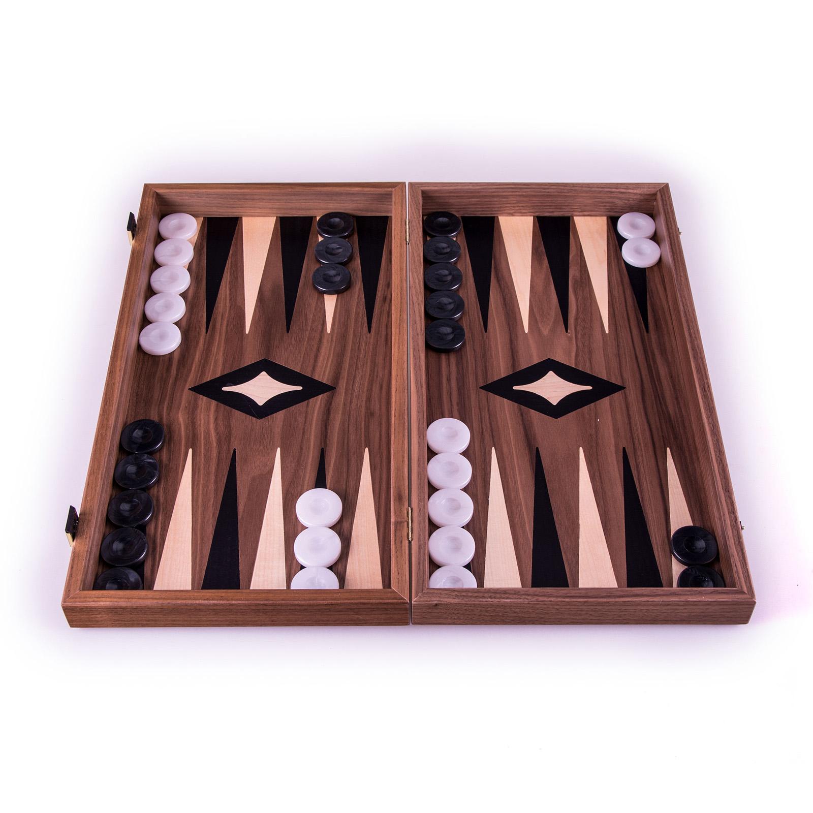 Backgammon-Set aus Walnuss aus Griechenland, handgefertigt 48x26 cm