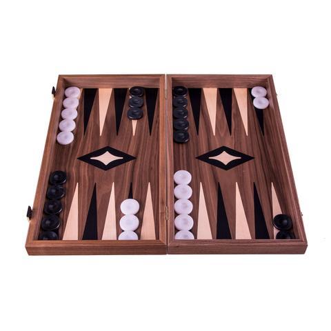 Backgammon-Set  Small  aus Walnuss aus Griechenland, handgefertigt 30x17 cm