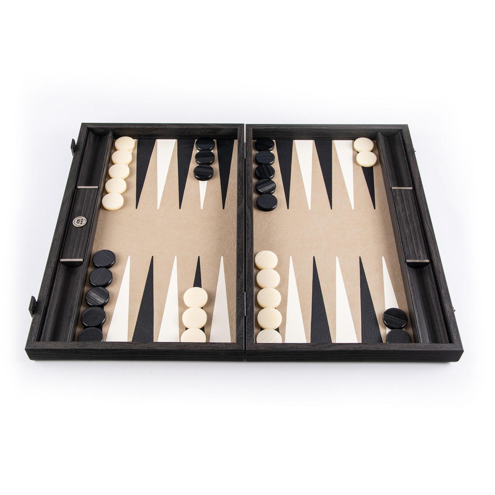 Backgammon-Set aus edlem Leder, handgefertigt 48x30 cm
