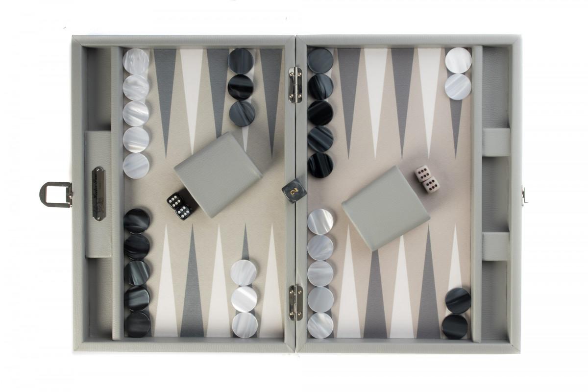 Backgammon -  Canvas  (25 x 37/geöffnet 50 x 37 in cm) Basile dunkelrot grau Hector Saxe