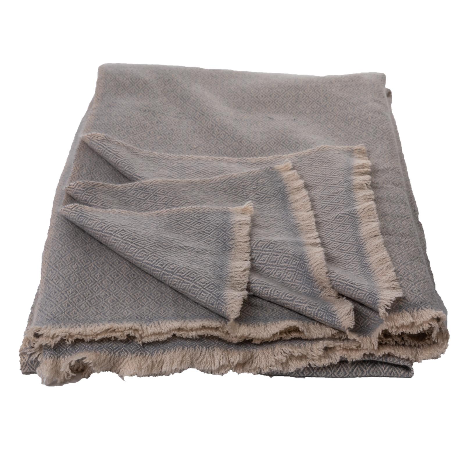 Cashmere-Decke  grau/natur aus Nepal  140x200 cm