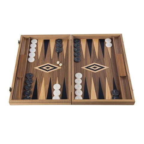 Backgammon-Set  Large aus Walnuss aus Griechenland, handgefertigt 48x30 cm