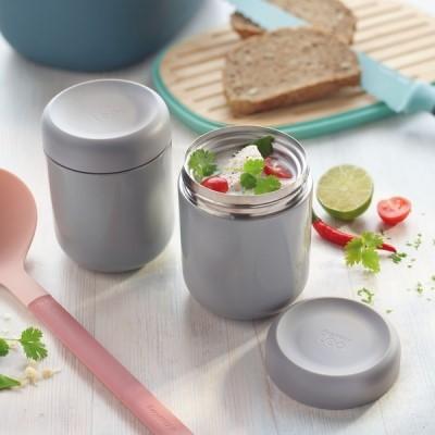 Lebensmittelbehälter aus doppelwandigem Edelstahl  grau 0,50 L