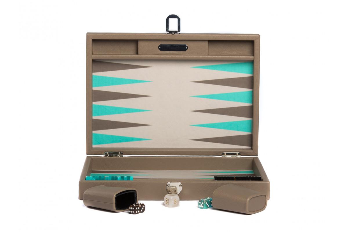 Backgammon -  Canvas  (25 x 37/geöffnet 50 x 37 in cm) Basile dunkelgrau medium Hector Saxe