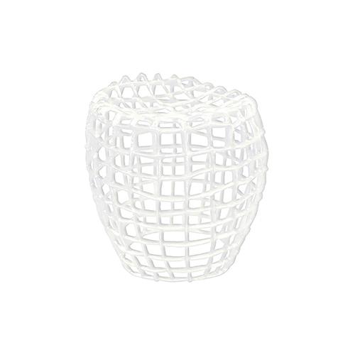 Sitzhocker aus Aluminium Farbe: weiß für Innen- und Außenbereich