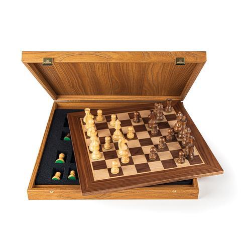 Schachspiel Walnuss mit Staunton Figuren, Königshöhe 9,5 cm aus Griechenland, handgefertigt 50 cm x 50 cm