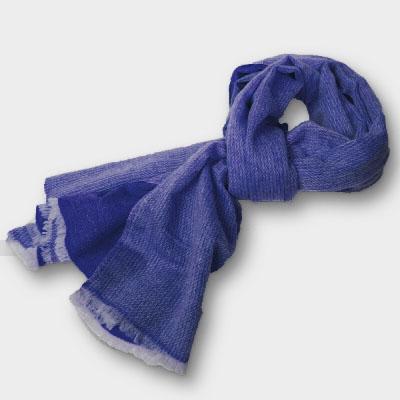 Pashmina - 100% Cashmere  zweifarbig  aus Nepal  70x200 cm  dunkelblau/dunkelblau-natur