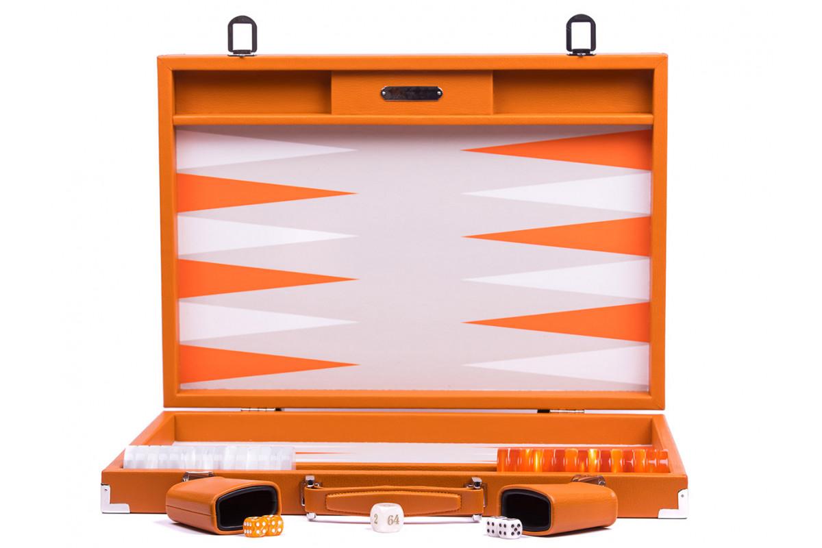 Backgammon -  Canvas  (37 x 52/geöffnet 74 x 52 in cm) Basile orange competition Hector Saxe