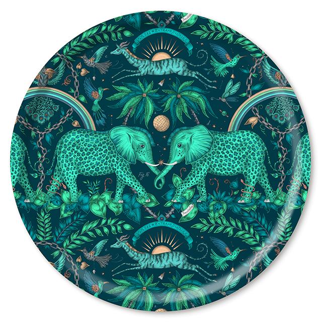 Zambezi/teal Tablett Ø 46 cm  aus weißem Birkenholz