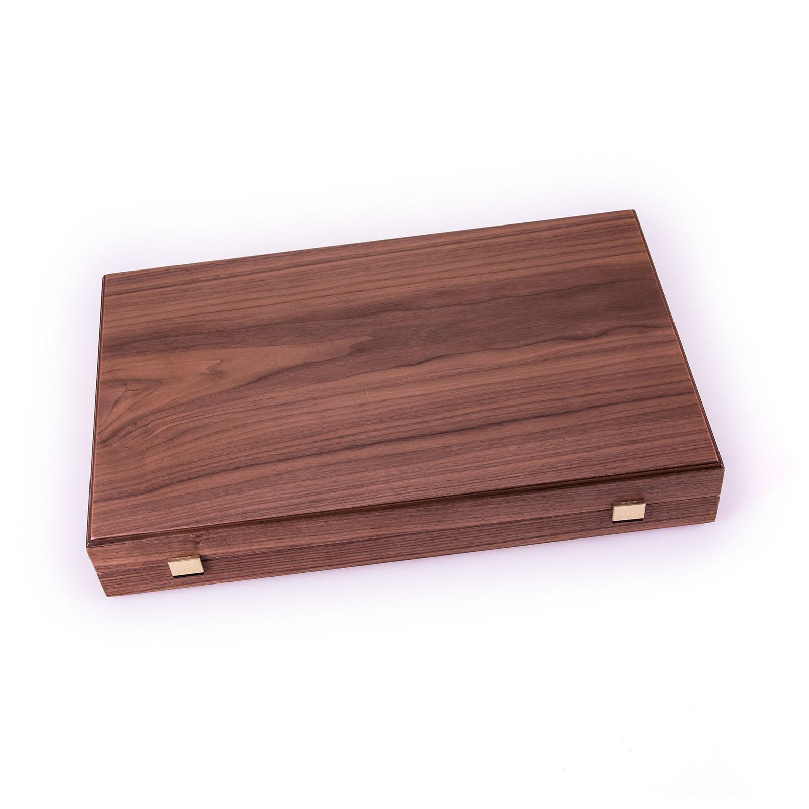 Backgammon-Set aus Walnuss aus Griechenland, handgefertigt 48x30 cm