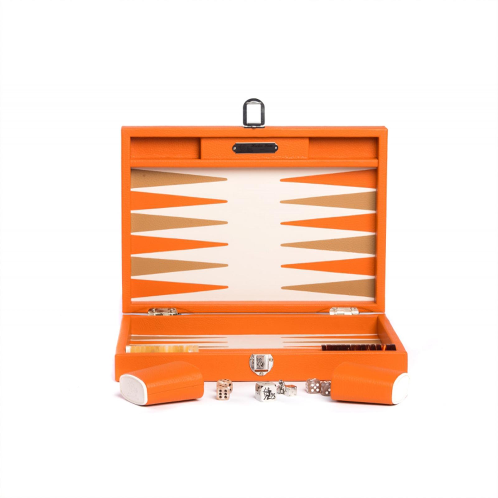 Backgammon Büffelleder Hector Saxe  - Baptiste Orange medium