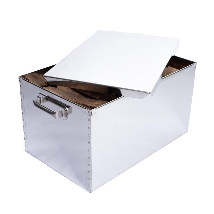 Holzkorb aus Edelstahl  Maße:LxBxH 65x40x35 cm