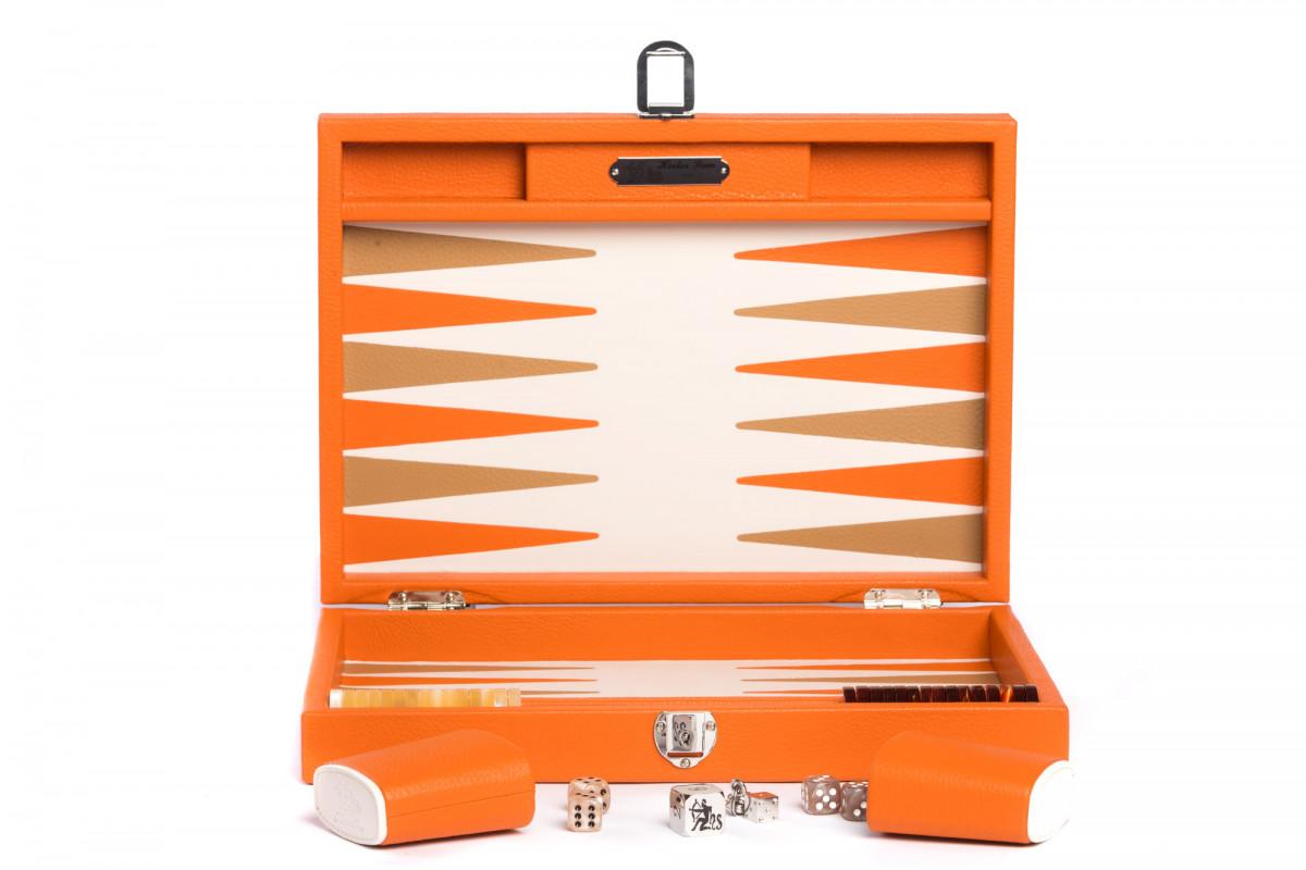 Backgammon Büffelleder (25 x 37/geöffnet 50 x 37 in cm) Baptiste orange medium Hector Saxe