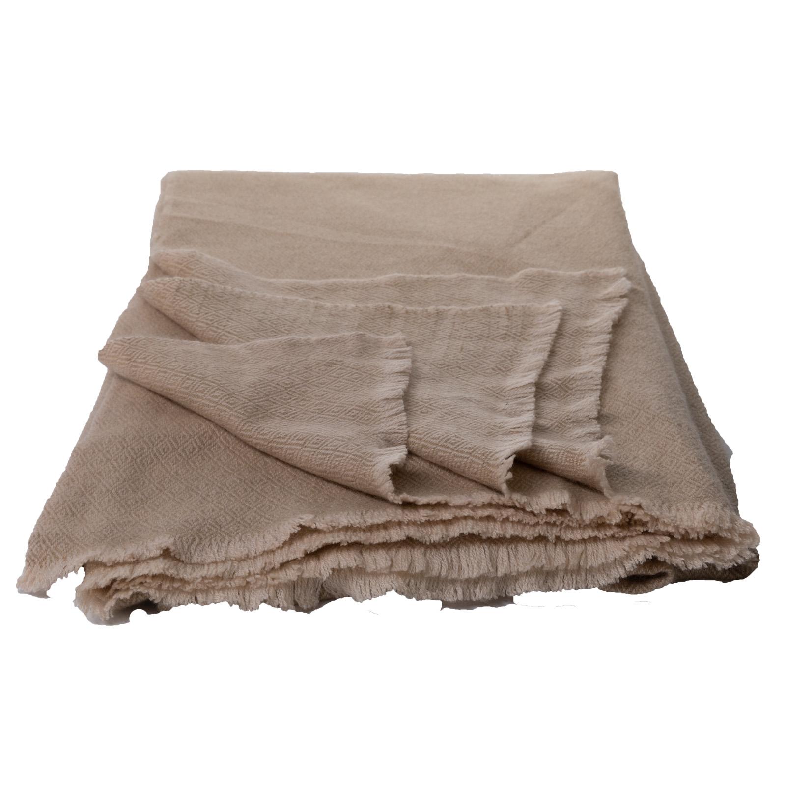 Cashmere-Decke beige/natur aus Nepal  140x200 cm