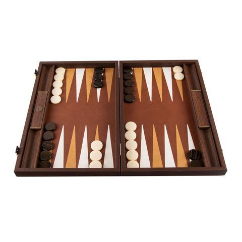 Backgammon-Set aus edlem braunem Leder, handgefertigt 48x30 cm