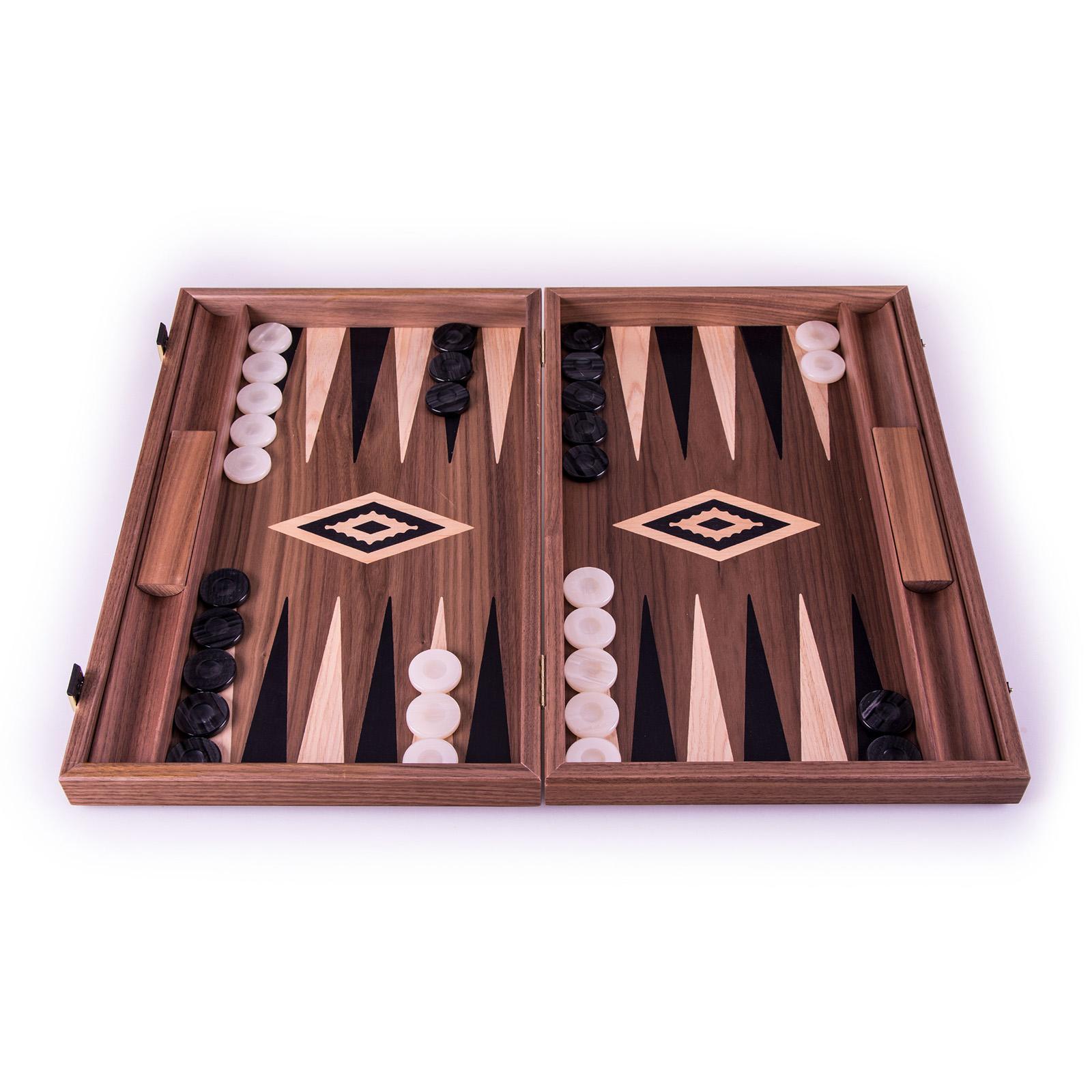 Backgammon-Set aus Walnuss aus Griechenland, handgefertigt 38x23 cm