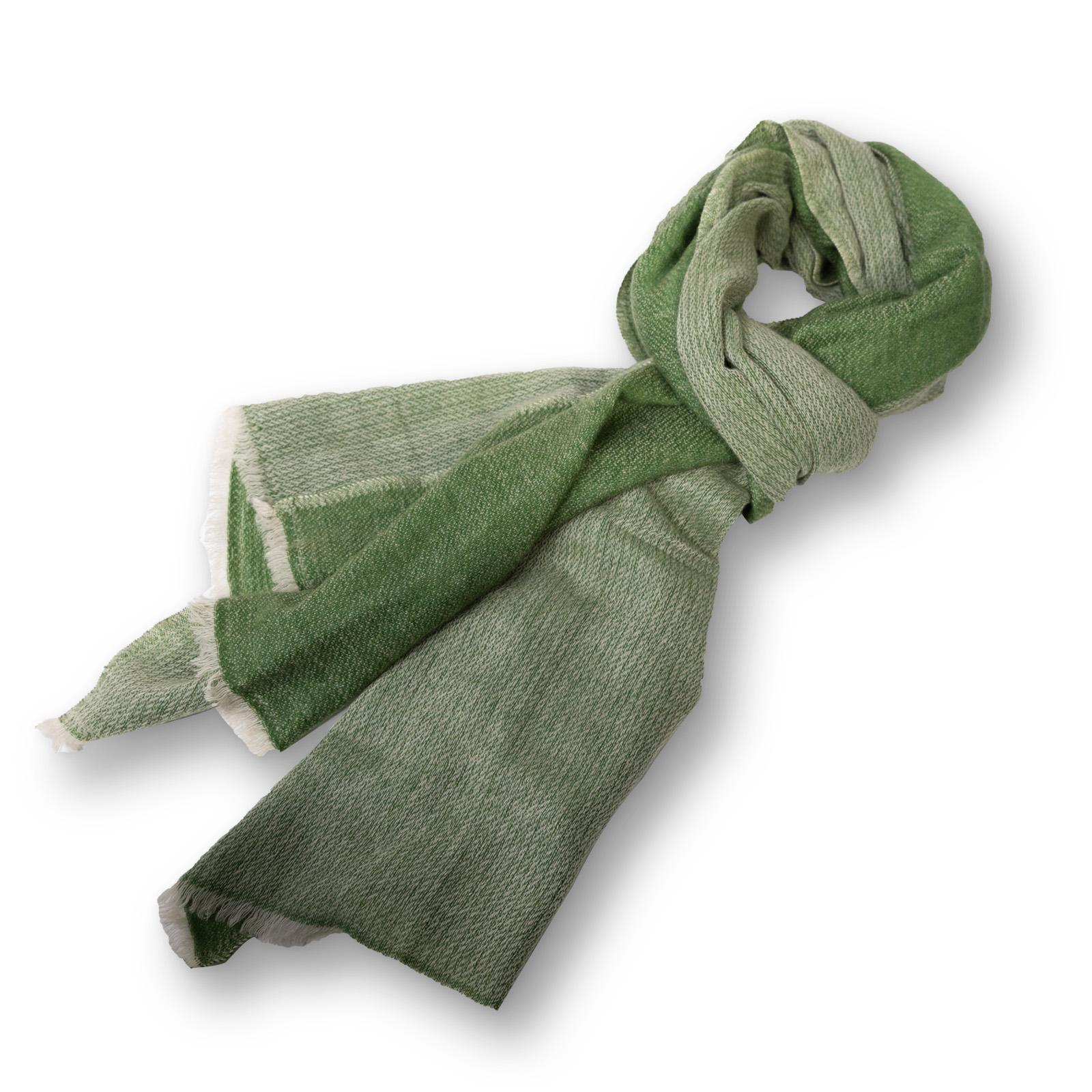 Pashmina - 100% Cashmere  zweifarbig  aus Nepal  70x200 cm grün/grün-natur