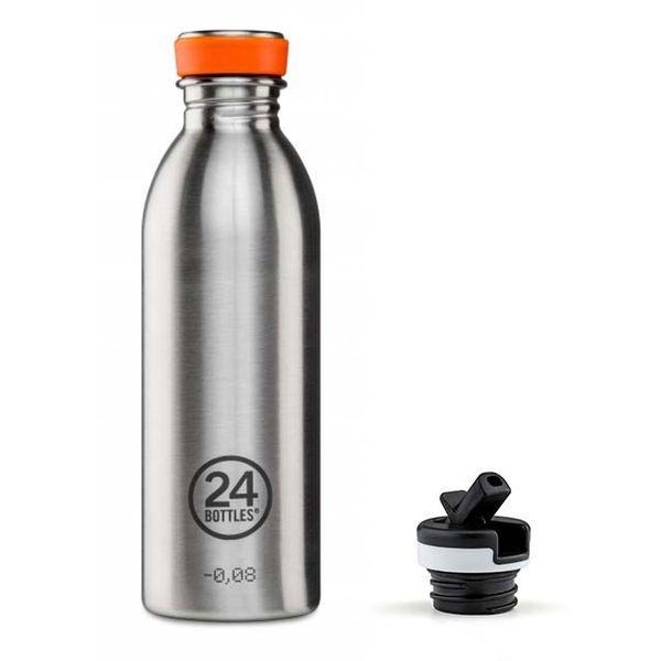 24Bottles Urban 500 ml Trinkflasche, Farbe: Edelstahl mit zusätzlichem Sportverschluß