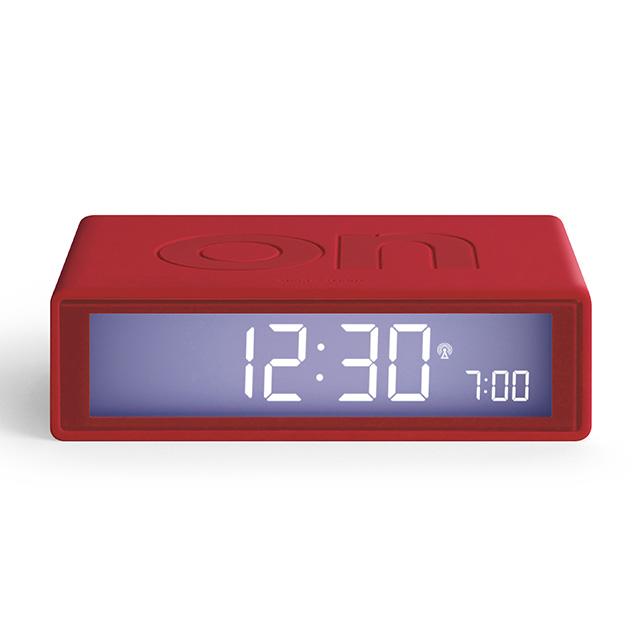 FLIP Umschaltbarer LCD-Wecker mit Funkuhr rot