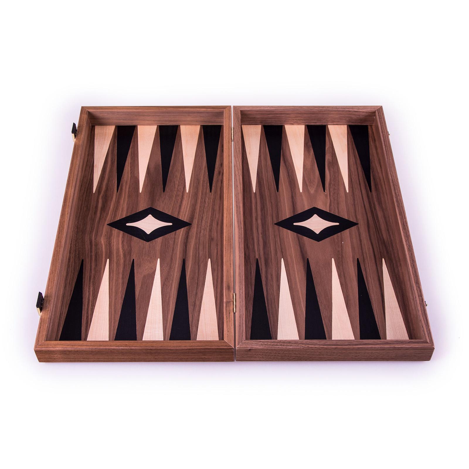 Backgammon-Set aus Walnuss aus Griechenland, handgefertigt 30x17 cm