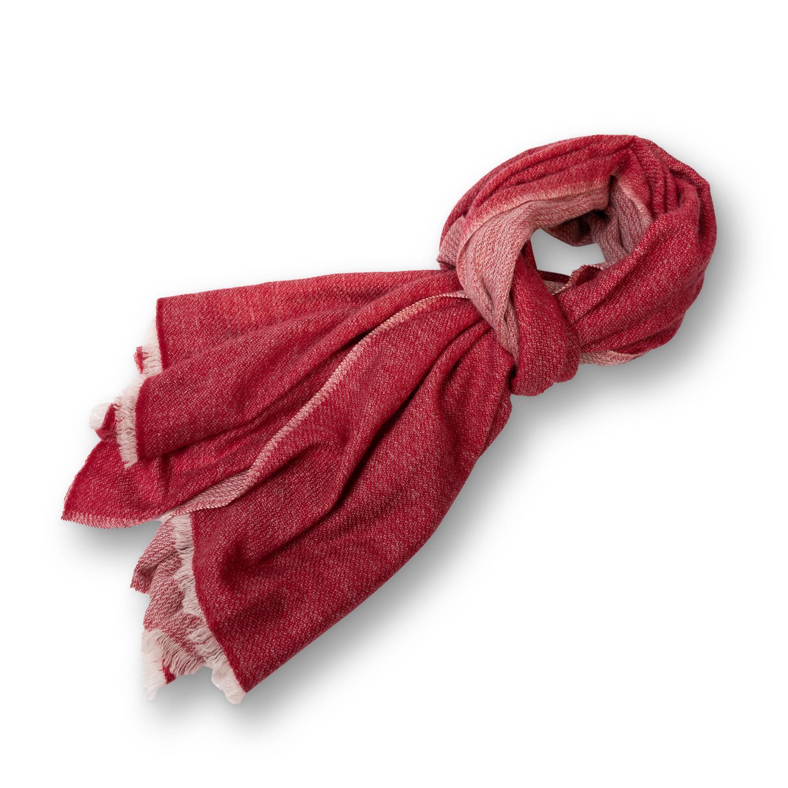 Pashmina - 100% Cashmere  zweifarbig  aus Nepal  70x200 cm  rot/rot-natur