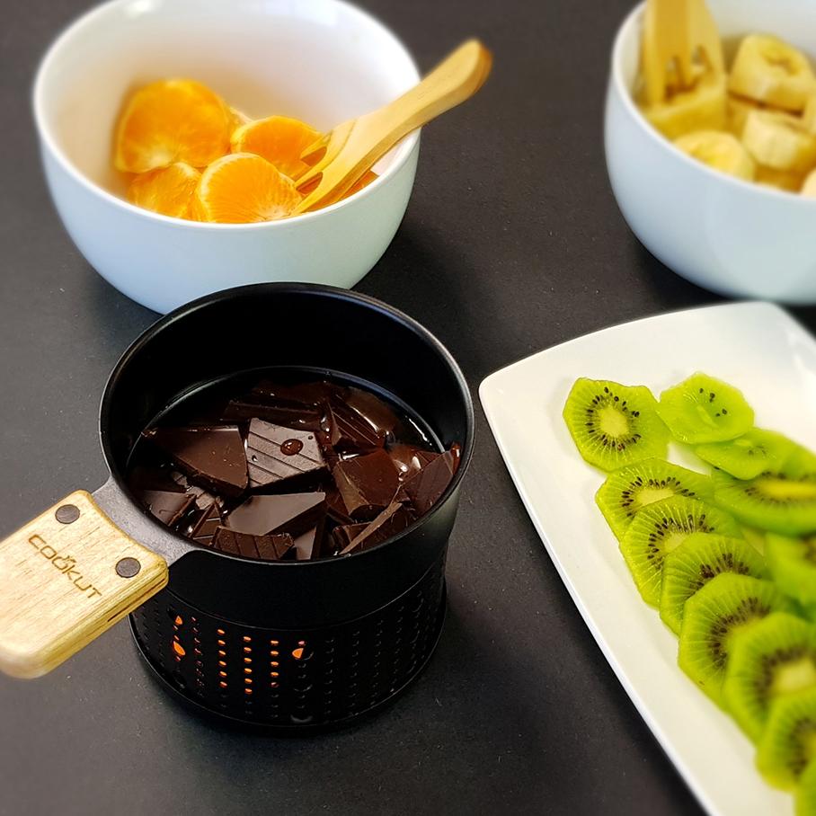 Schokofondue für 2 Personen mit Stövchen für Teelicht, Metall, Schwarz, 2 x Holzgabel , LUMIC2