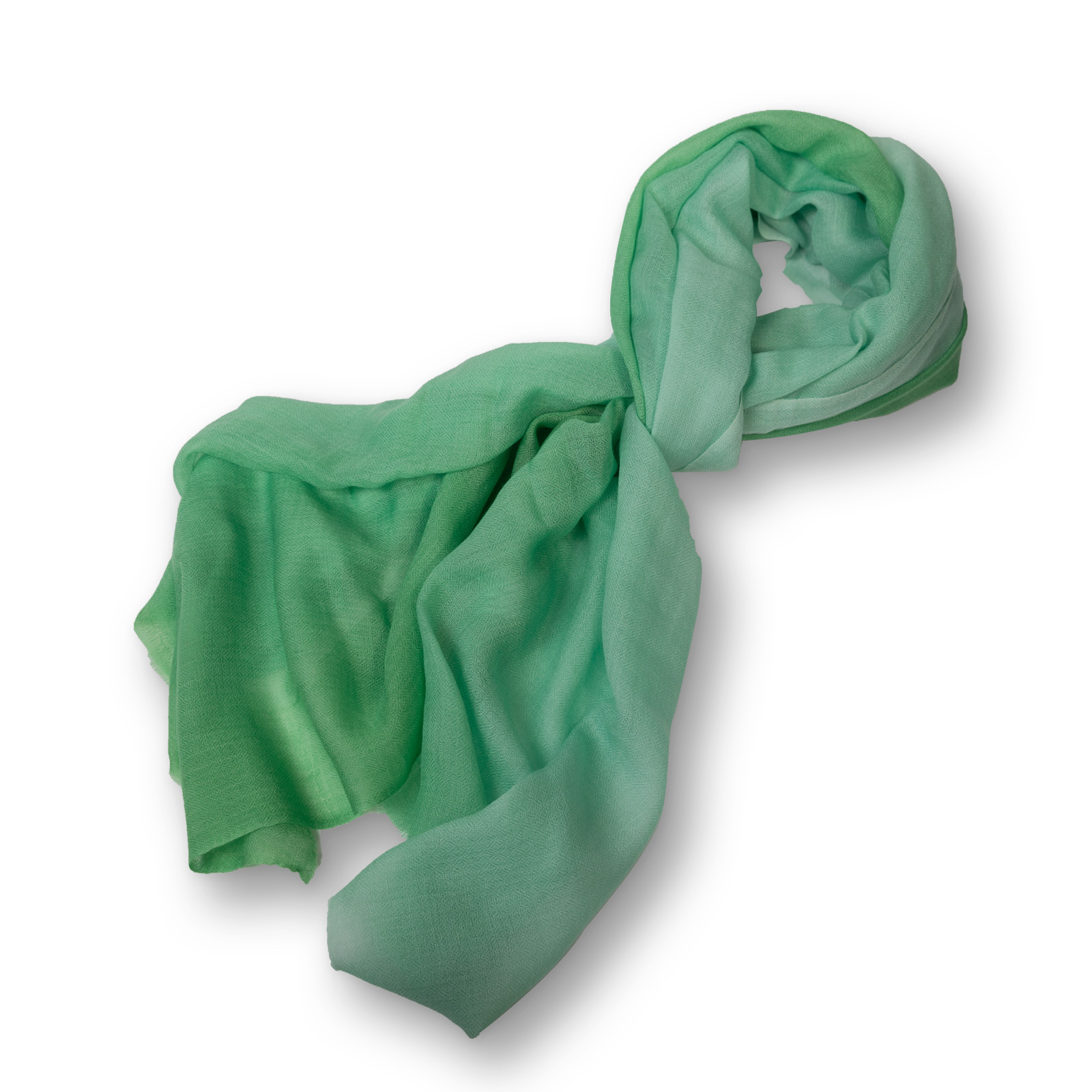 Pashmina - 100%  Cashmere  zweifarbig aus Nepal  70x200 cm grün-hellgrün