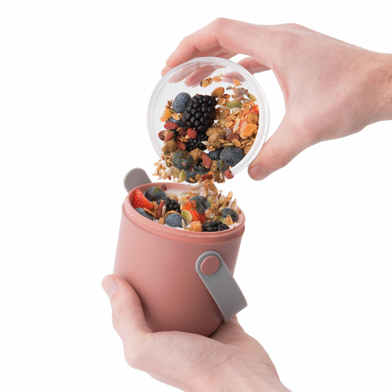 Lunch Box Dual/Lunchdose pink, zweiteilig, auslaufsicher, 0,47 L + 0,8 L