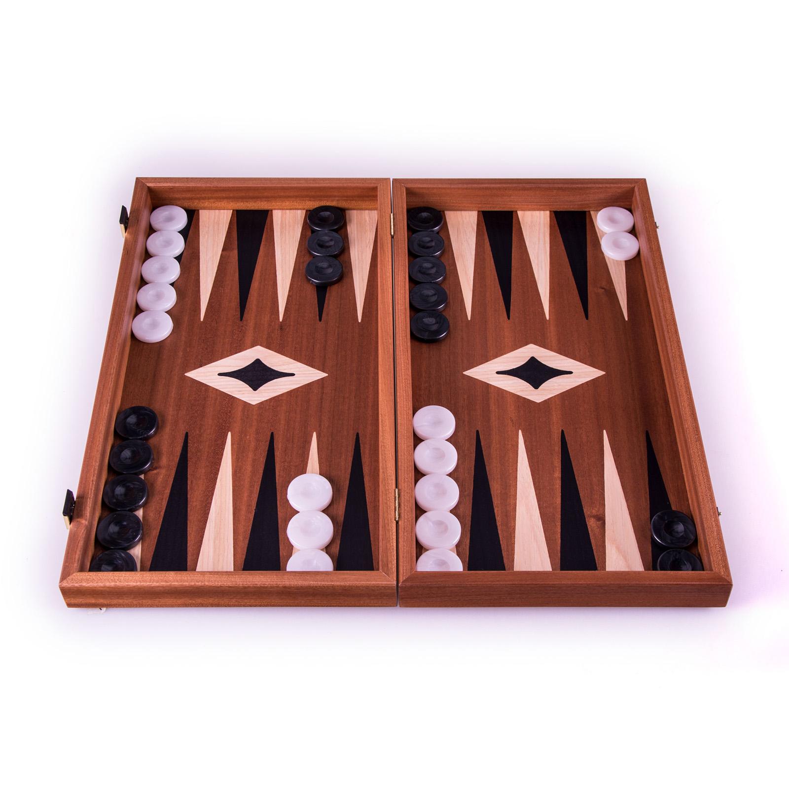 Backgammon-Set aus Mahagoni aus Griechenland, handgefertigt 30x17 cm
